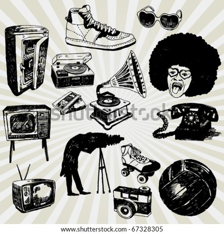 Some Hand Drawn Things From the Past - stock vector