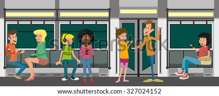 Some hipster people take the subway - stock vector