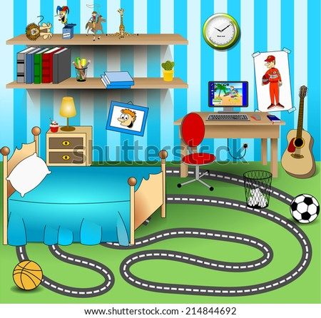 Some Kid Bedroom. Vector art image llustration of a cartoon children room with boy or girl lifestyle elements, toys, bed, books, computer desk, bookshelf with books and pencils, guitar on green carpet - stock vector