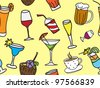Some kinds of drinks and cocktails- colored seamless pattern and background - stock vector
