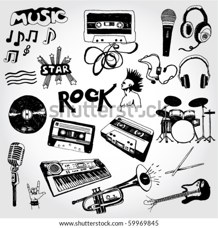 Some Music Doodles - stock vector