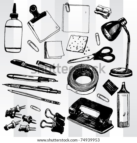 Some Office Stuff Hand Drawn - stock vector