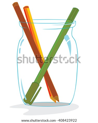 some pencils and a pen inside a glass jar