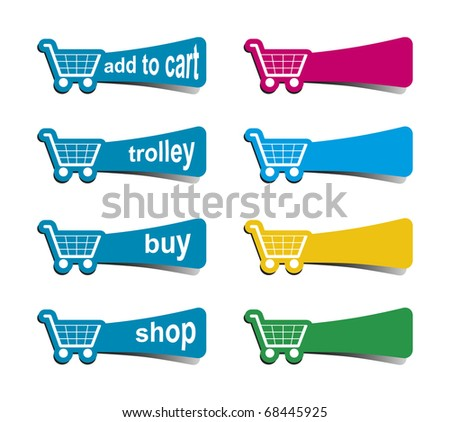 some shopping icons in different colors