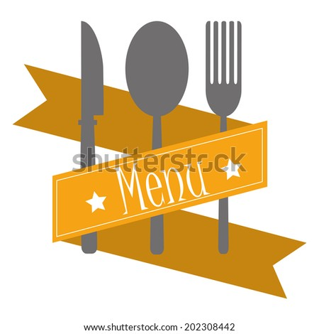 some utensils and a yellow ribbon with text and stars - stock vector