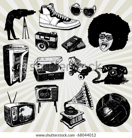Some Vintage Things Hand Drawn - stock vector