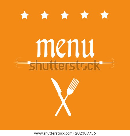 some white silhouettes and text in an orange background for menu