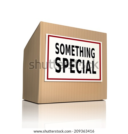 something special on a paper box over white background - stock vector