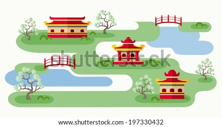 Somewhere in Japan. Cartoon illustration with tranquil Japanese landscape. Abstract map of countryside with pagodas, trees and bridges. Rolling landscape. Colorful flat style. Vector EPS8. - stock vector