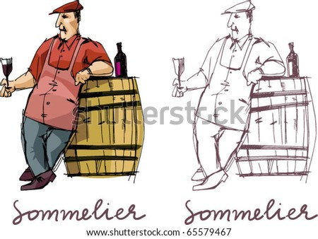 sommelier handmade based vector illustration