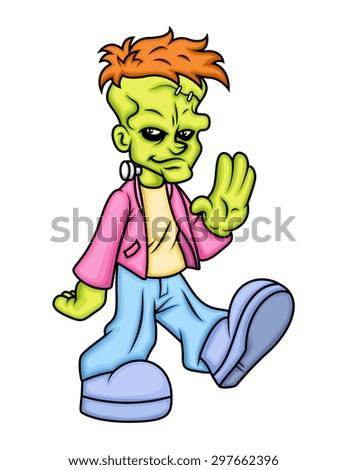 Somnambulism Concept - Walking Cartoon Character Vector - stock vector