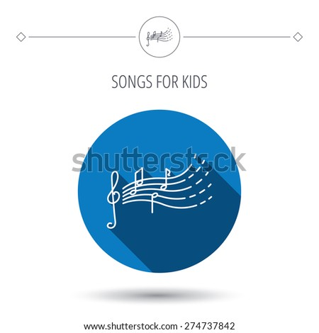 Songs for kids icon. Musical notes, melody sign. G-clef symbol. Blue flat circle button. Linear icon with shadow. Vector - stock vector