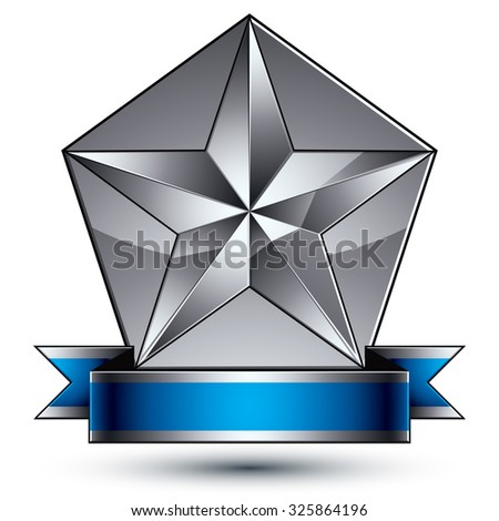 Sophisticated vector emblem with silver glossy star and blue wavy ribbon, 3d decorative shield design element, clear EPS8. - stock vector