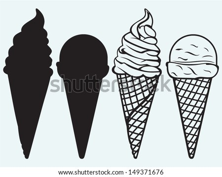 Sorts of Ice Cream in a waffles isolated on blue background - stock vector