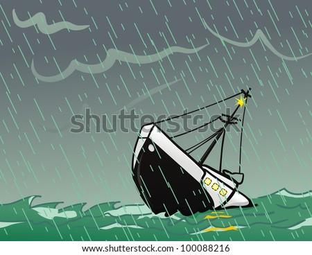 SoS Sinking Ship - stock vector