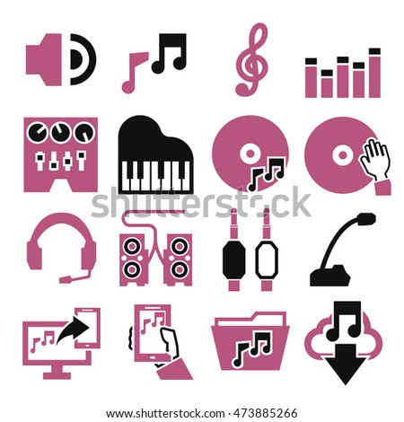sound and music icon set