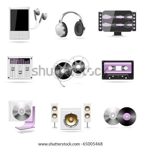 sound and music  vector icon set - stock vector