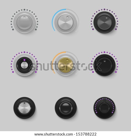 sound dials set vector - stock vector