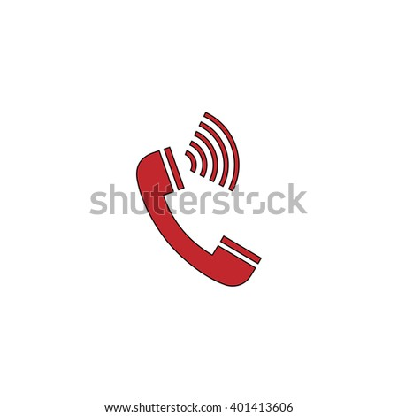 Sound from the handset - phone. Red flat simple modern illustration icon with stroke. Collection concept vector pictogram for infographic project and logo - stock vector