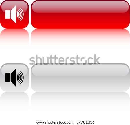 Sound glossy square web buttons. - stock vector