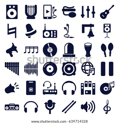 Sound Icons Set Of 36 Filled Such As Bell Disc On