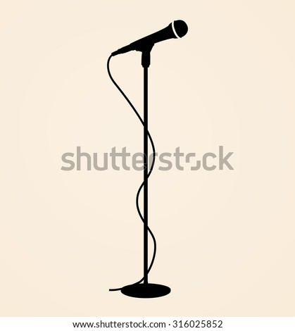 Sound recording equipment - black silhouette stage microphone, cable and stand - isolated standing on beige background, realistic style design, vector art image illustration, eps10 - stock vector