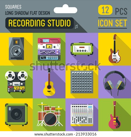 Sound recording studio flat long shadow square icon set. Vector trendy illustrations.