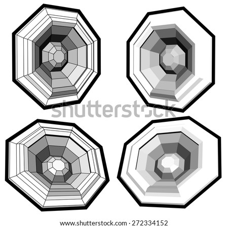 sound system speaker woofer made with polygons - stock vector