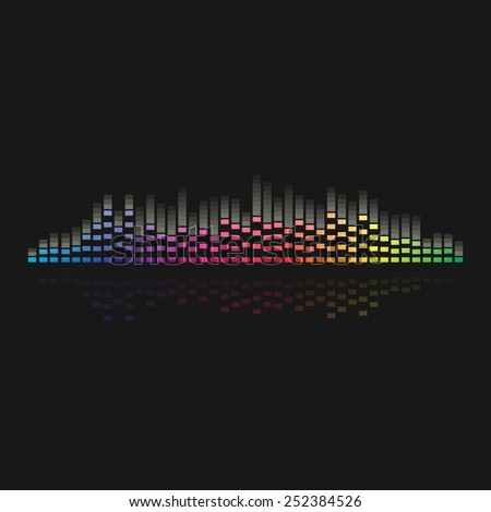 sound wave colorful music equalizer  of a Vector illustration  on black background - stock vector