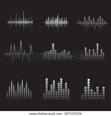 Sound Wave Icon Set. Music soundwave icons set. Equalize audio and stereo sound, wave, melody. Vector illustration. - stock vector