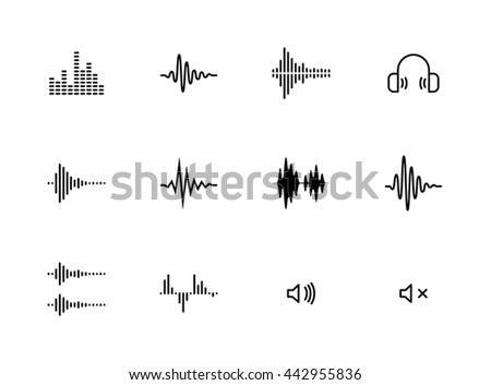 sound wave music vector icons set - stock vector