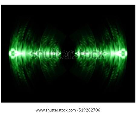 Sound waves oscillating dark green light, Wave Abstract technology background. Vector wave.