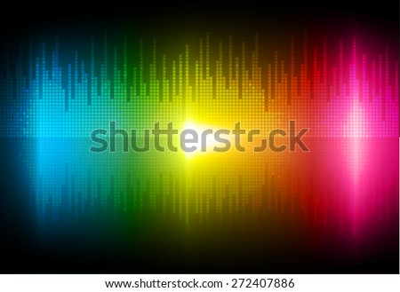 Sound waves oscillating glow blue yellow pink light, Abstract technology background. Vector.