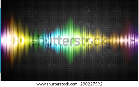 Sound waves oscillating glow colorful light, Abstract technology background. Vector. - stock vector