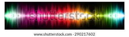 Sound waves oscillating glow colorful light, Abstract technology background. Vector. infographics