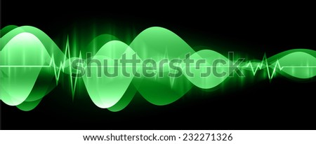 Sound waves oscillating glow green light, Abstract technology graphic computer background. Vector.