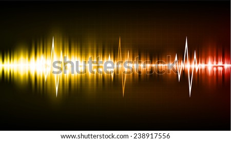 Sound waves oscillating glow orange red light, Abstract technology background. Vector. Pulse