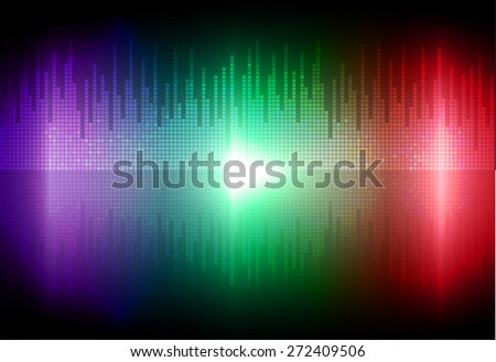 Sound waves oscillating glow purple green red light, Abstract technology background. Vector.
