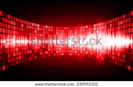 Sound waves oscillating glow red light, Abstract graphic computer technology background. Vector. pixels mosaic background. - stock vector