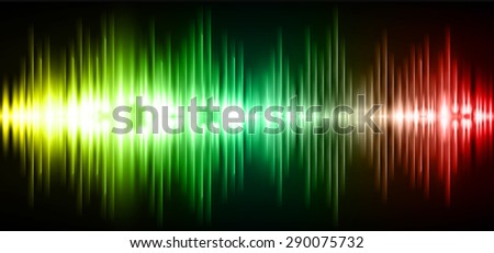 Sound waves oscillating glow yellow green red light, Abstract technology background. Vector. infographics
