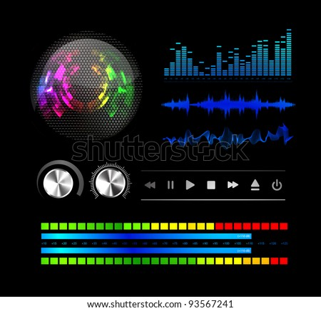 Sound waves set - stock vector