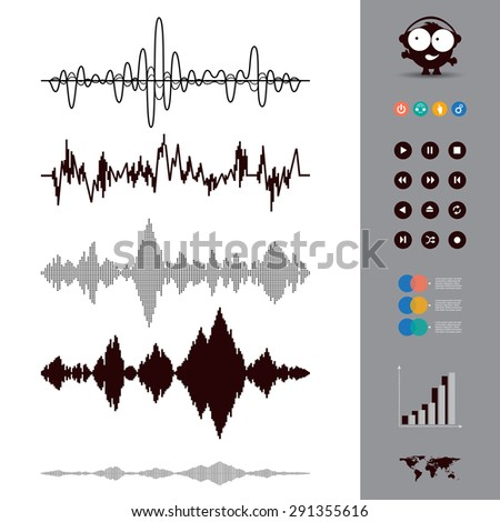 Sound waves set. Audio equalizer style. Music. Set of 12 Circle Media Buttons. Map. Vector Illustration.  - stock vector