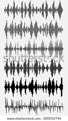 Sound waves set. Halftone digital music volume,  spectrum diagram. Use in audio technology, equalizer, club, radio, pub, show, party. Vector illustration - stock vector