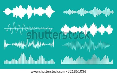 Sound waves set, isolated, vector illustration - stock vector