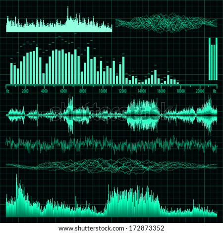 Sound waves set. Music background. EPS 10 vector file included - stock vector