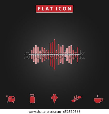 soundwave Simple vector button. Flat icon with stroke on black background and bonus icons