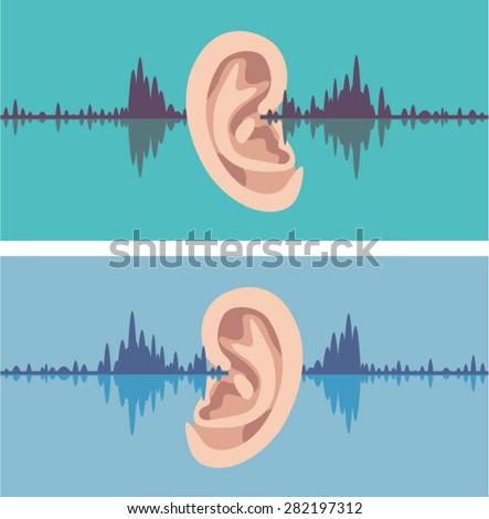 Soundwave through the human ear - stock vector