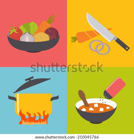 Soup (borsch) making process, preparing food icons set. Flat design vector - stock vector