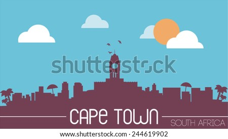 South africa cape town skyline silhouette flat design vector illustration - stock vector