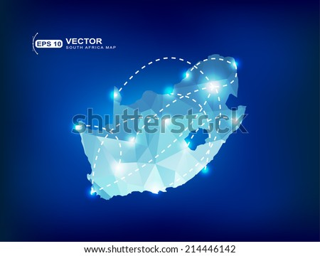 South Africa country map polygonal with spot lights places - stock vector